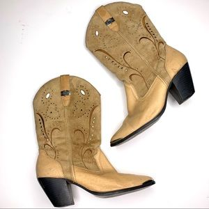 Dingo Brown Pearl Stone & Stud Cowboy Boots 8.5